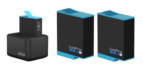 Imagen 1 de 3 de Cargador Doble Gopro + 2 Baterias Gopro Para Hero 9 Black