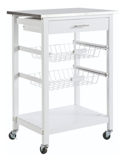 Mueble Auxiliar Para Cocina Ruedas Alacena Práctica Blanca