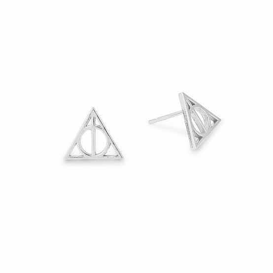 Aretes Reliquias De La Muerte Plateados Harry Potter