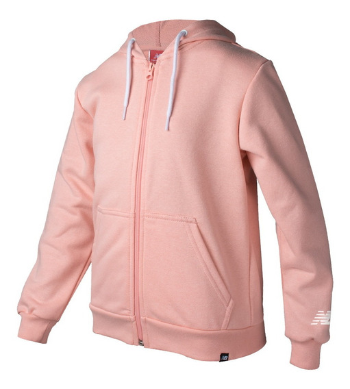 Campera New Balance Essentials Full Zip Rosa Niña