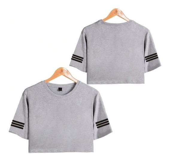 Camiseta Cropped Liso Bts Camisa Tumblr Fofo Cut Feminino