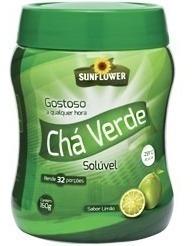 Chá Verde Solúvel - 160gr - Limão Ou Abacaxi - Sunflower