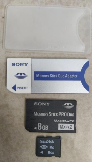 Kit Cartão De Memória Memory Stick (pro Duo 8gb + M2 8gb)