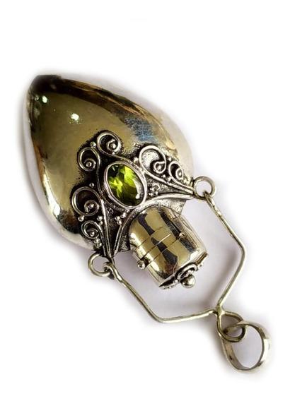 Perfumero Dije De Plata 925 Y Piedra Semipreciosa