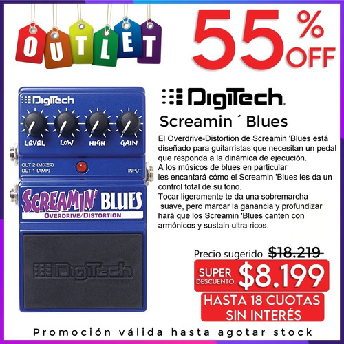Pedal De Efecto Digitech Screamin Blues Outlet Envio Nuevo