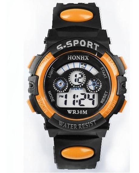 Relógio Digital Infantil Honhx Laranja Masculino + Brinde