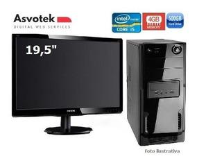 Computador Asvotek Intel I5 4gb Hd500gb Monitor Led 19.5