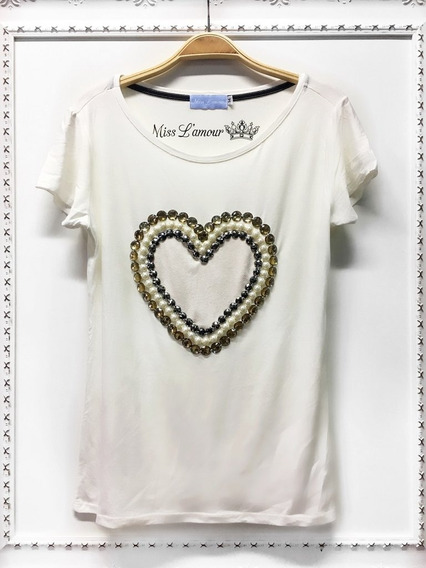 Blusa T-shirt Viscose Bordada Coração Miss Lamuor Frete Gr
