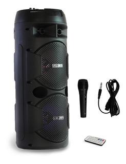 Bafles Amplificados Bocina Bluetooth Recargable Portatil Microfono Larga Duracion Usb Auxiliar Fm Karaoke
