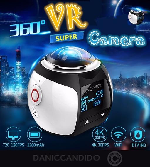 Mini Câmera E Filmadora 360° Faz Vídeos Em Vr + Óculos 3d Vr