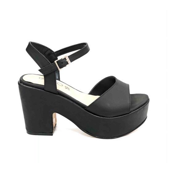 Sandalia Mujer Plataforma Cuero Zapato Taco Moscu
