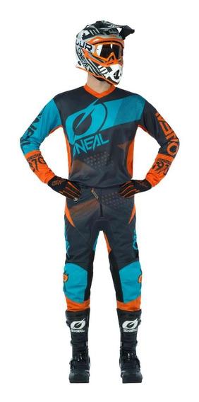 Equipo Motocross Jersey Pantalón Oneal Factor Naranja Azul