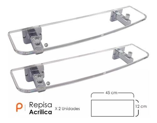 Kit Repisa De Lujo Acrílica, De Fácil Instalación X 2 Unidad