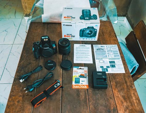 Canon T6 Na Caixa + Lente 18-55mm + Cartão 16gb Frete Grátis