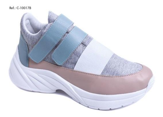 Tênis Chunky Sneaker Em Napa Rosê,azul E Tecido Cor Cinza