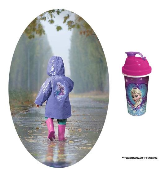 Capa De Chuva + Shakeira Infantil 580ml - Kit Frozen