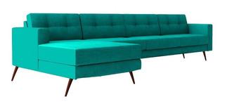 Sofá Novo Living Chaise Pé Palito 4 Lugares Azul Tiffany