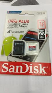 Cartão De Memória 32gb Sandisk Ultra Plus Msdhc 98mb/s V10