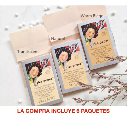 Imagen 1 de 3 de Palladio Genuino Hojas Papel De Arroz Paquete X 6 Promoción