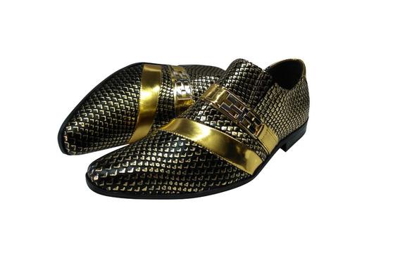 Sapato Masculino Em Couro Dourado Escamado Cod: 418