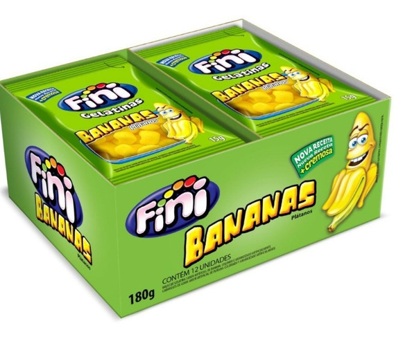 Bala De Gelatina Bananas Fini C/12 17g