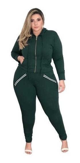 Conjunto 2 Peças Plus Size , Calça , Blusa Verde Exercito