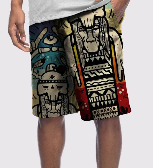 Bermuda Short Moletom Desenho Totem Illuminati Hórus Olho Eye Tumblr Swag