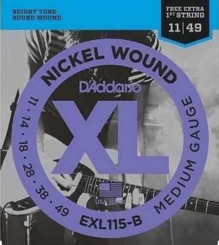 Encordoamento Guitarra 011 Daddario Exl115 Xl Nickel Exl-115