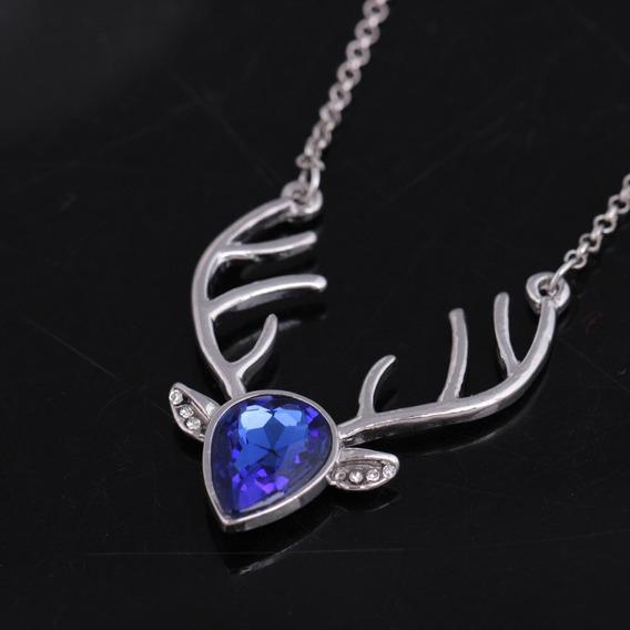 Collar Ciervo Plata Zafiro Cristales Diseño Exclusivo N-292