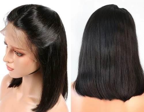 Peruca Front Lace Wig Long Bob Cabelo Humano Repartição 35cm