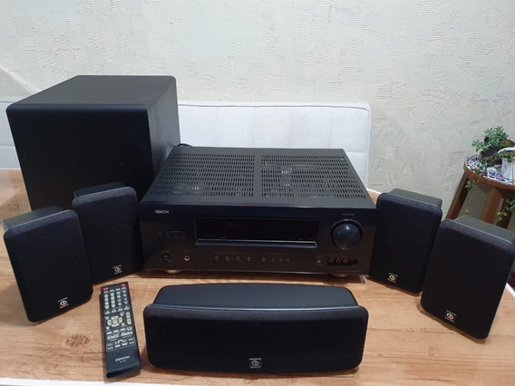 Home Theater Denon Receiver Avr1312 + Subwoofer + 5 Caixas
