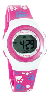 Reloj Tressa Digital Sumergible Ideal Nenas ,estampado Huellitas Rosa ,blanco Promo!