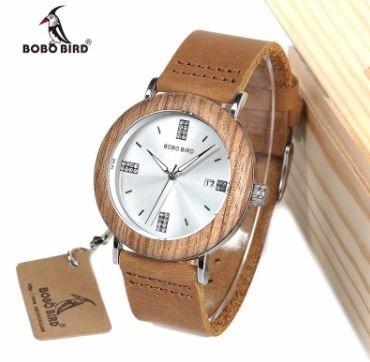Relógio Unissex Bambu Madeira Bobo Bird O28b Calendário
