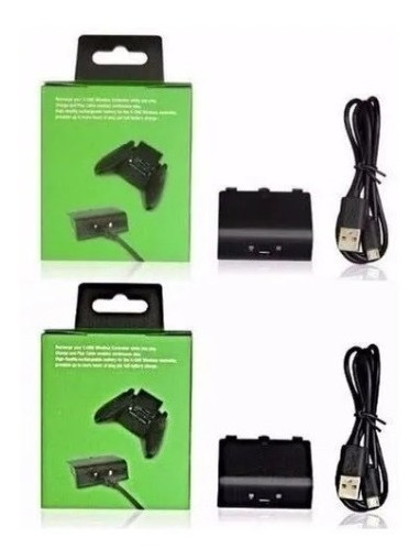 Kit 2 Baterias + 2 Cabos Carregador Controle Xbox One Charg