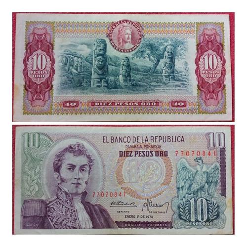 Imagen 1 de 1 de Billete De 10 Pesos Oro De 1978