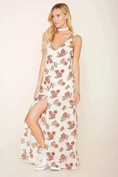 Vestido Largo Con Flores Forever21 Original