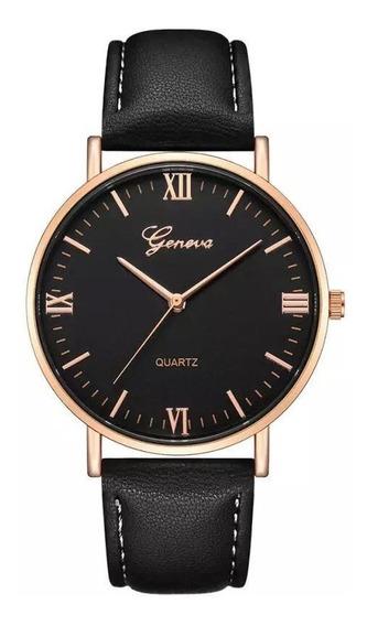 Relógio Masculino Geneva Importado Com Caixa Original Preto