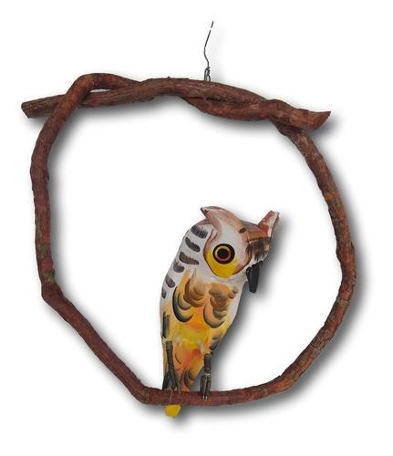 Pássaro Coruja De Madeira Enfeite Decoração Ref.0698