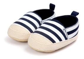 Sapatinho Bebê Festa Listrado Azul Branco - Sapato Infantil
