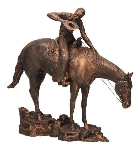 Escultura Cowboy Life Em Resina Pintura Envelhecida Home Wes