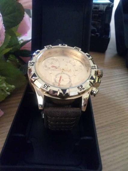Relógio Importado, Dourado De Pulso; Correia De Couro.