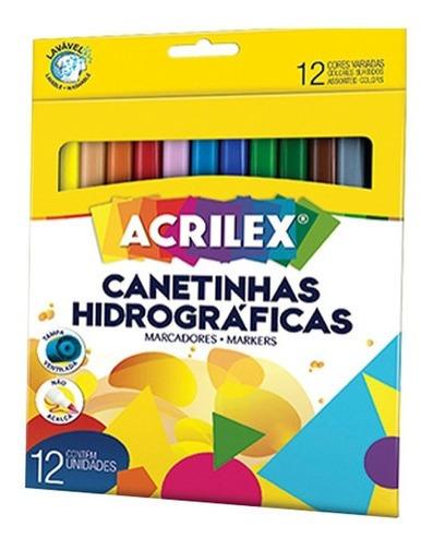 Canetinha Hidrográfica Caneta Colorida Lavável Com 12 Cores