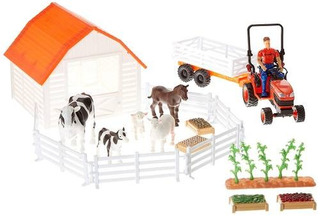 Tractor Newray Kubota Con Juego De Animales De Granja!