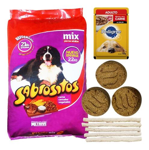 Imagen 1 de 2 de Comida Sabrositos Mix Perros Adultos 22 Kg + Regalo + Envío