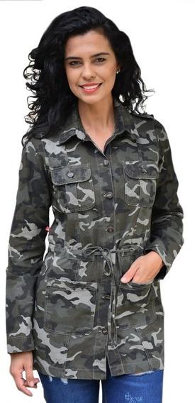 Jaqueta Parka Camuflada Feminina Plus Size.