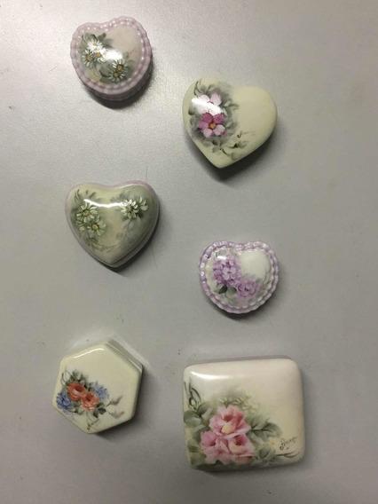 Conjunto Porta Joias Porcelana Pintada A Mão Lindo Presente