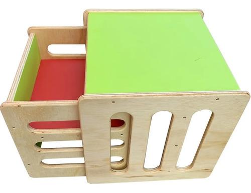 Conjunto Mesa E Cadeira Cubo Montessoriano Colorido Infantil