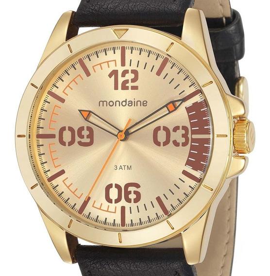 Relógio Mondaine Masculino Couro Dourado 76702gpmvdh2 + Nf-e