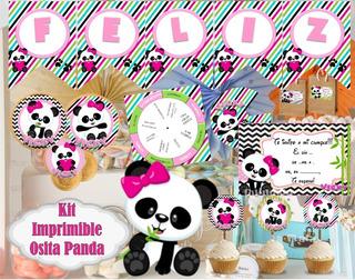 Kit Imprimible Oso Panda Candy Bar Completo Osita Panda