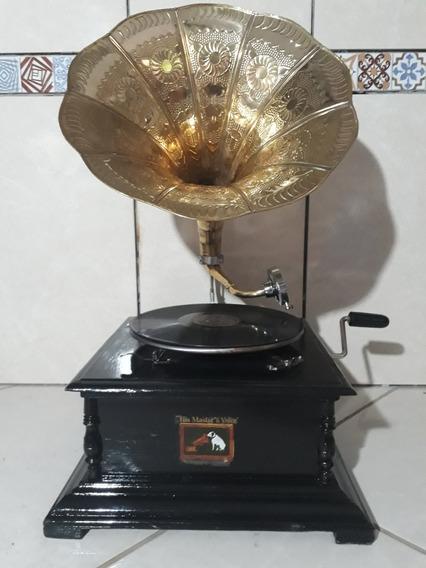 Gramofone A Corda + 2 Discos Francisco Alves E 30 Agulhas